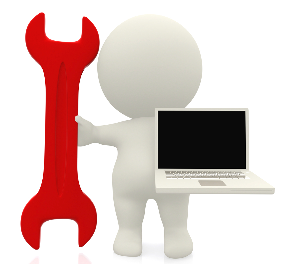 3D person with a spanner and a laptop isolated over a white background